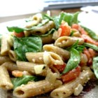 Tomato Basil Pasta - Hot or cold the Parmesan cheese and feta cheese flavors come through and enhance this dish.