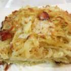 Bulba Kosha - Lithuanian recipe for potato pie made with potato, onion, butter and salt pork.