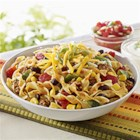NO YOLKS(R) Skillet Salsa Chicken with Noodles - The added protein from black beans adds a fibre boost and also allows you to use less ground chicken in this budget conscious variation on the traditional taco supper.
