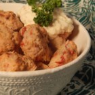 Savory Turkey Meatballs with Tangy Mustard Dip - Savory turkey meatballs served alongside a tangy, creamy mustard dip are a nice alternative to traditional beef and pork meatballs.