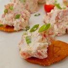 Simple Cream Cheese and Ham Spread - Make a simple but flavorful spread with just cream cheese, ham, green onion, and English-style mustard.