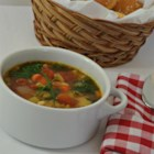 Judy's Hearty Vegetable Minestrone Soup - This hearty soup recipe features potatoes, carrots, celery, kidney beans, and kale in vegetable stock for a simple, Italian-style comfort dish.