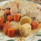 Slow Cooker Magic Chicken - Delightfully tender chicken cooked in a mushroom soup and yogurt sauce with turnip and carrots.