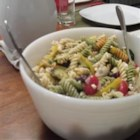 Greek Pasta Salad with Shrimp, Tomatoes, Zucchini, Peppers, and Feta - Zucchini and yellow bell peppers are grilled ahead of time and combined with shrimp, cherry tomatoes, and feta cheese.  I leave the Dijon dressing on the side and toss it at the picnic, just before serving.