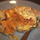 End of the Line Ham Casserole - Steaming hot casserole using left over ham with potatoes topped with bubbly Parmesan cheese.