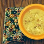 German Potato Bacon Soup - Bacon, onions, and potatoes are a classic combination utilized in this soup seasoned with caraway seed and marjoram.