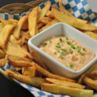 Flemish Frites - Belgian Fries with Andalouse Sauce - These Flemish fries are cooked twice and served with a rich Belgian Andalouse sauce made with mayonnaise, peppers, lemon, and tomato.