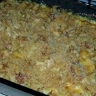 Corned Beef Noodle Casserole - Canned corned beef, Velveeta, cream of chicken soup and a bit of milk are tossed with noodles and baked until the flavors meld.