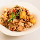 Sweet Onion and Pineapple Chicken Teriyaki - Sweet onion and pineapple chicken teriyaki with cashews gets an interesting twist when Swiss cheese strips are melted on top.