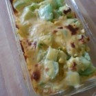 Chayote with Egg and Cheese - Tender chayote is cooked with onions and eggs. Topped with American cheese and popped in a hot oven for a few minutes, and you'll have a delicious breakfast in no time.