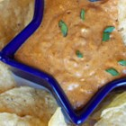 Lori's Quick and Easy No Bean Chili Dip - This bean-free chili dip is quick, easy, and a hit at parties! Serve it with tortilla chips and snack during the big game!