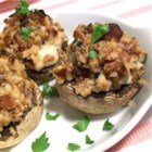 Blue Bacon Stuffed Mushrooms - Mushrooms stuffed with blue cheese, bacon, caramelized onions and garlic make a delicious appetizer!