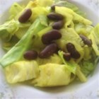 Exotic Indian Cabbage - Cabbage is given an exotic twist when seasoned with a multitude of Indian spices, and simmered with beans.  Complex, intriguing dish.  You can get the spices at an Indian shop.  Also good with other vegetables.