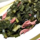 Braised Collard Greens - My Grandma Ollie-Belle made the best 'greens.' This recipe is as close to hers as I could come. The 'pot-liquor' is the key to great greens!! Serve with fresh green onions and black-eyed peas with rice.