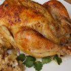 Celery Herb Stuffing and Savory Chicken - Parsley, sage, rosemary, and thyme season a roast chicken stuffing; the chicken is sprinkled with savory and roasted to perfection.