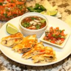 Quesadillas de los Bajos - Veggie quesadillas filled with roasted green chile peppers and topped with homemade pico de gallo is a satisfying Tex-Mex meal.