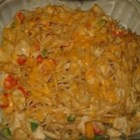 Chicken Spaghetti - Chunky chicken baked with pimentos, bell peppers and cheese in a mushrooms sauce.