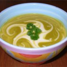 Creamed Broccoli Soup - This is a pureed vegetable soup made with half-and-half, chicken boullion granules and soy sauce.  Serve with blanched broccoli florets and chopped parsley or carrot curls.