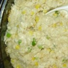 Rice Casserole - A cheesy rice with corn and green onions. Pretty enough for company and tastes great!