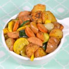 Skillet Smoked Sausage and Red Potatoes with Veggies - This one-skillet dinner with smoked sausage, small red potatoes, yellow squash, zucchini and onions with a hint of green chili makes a great weeknight meal.