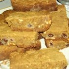 Chocolate Chip Peanut Butter Blondies - A great blondie recipe using tub margarine and no brown sugar.