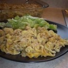 Trish's Tuna Casserole - This creamy tuna casserole with peas and onion is topped with fresh bread crumbs.