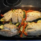 Honey Lime Tilapia - Sweet and tangy tilapia with fresh veggies covered in mozzarella cheese.