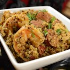 Quinoa Jambalaya - Quinoa jambalaya with kielbasa, sweet peppers, and sweet onion and plenty of spice is a hearty, gluten-free meal.