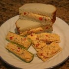 Tom's Sweet Pimento Cheese - This version of pimento cheese is sweetened with pickle relish. It is great as a sandwich, as a spread on crackers, or stuffed into celery.