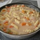 Easy Pasta Chicken - Boil up some soup and add uncooked pasta along with your favorite frozen vegetable medley, and you have a nutritious and easy foundation for sauteed chicken.