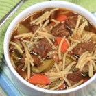 Peruvian Beef Noodle Soup (Sopa Criolla) - This Peruvian version of beef noodle soup uses fideo pasta and features carrot and zucchini with the beef.