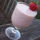 Quick Start Breakfast Drink  - A breakfast smoothie with tropical fruit, yogurt and fresh strawberries.