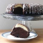Ribboned Fudge Cake - An easy, delicious, moist Bundt cake with a cream cheese ribbon inside.  Makes a nice presentation for company.