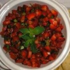 Betty Baker's Strawberry Salsa - Strawberries, grape tomatoes, and minced jalapeno pepper make a fruity, spicy salsa perfect for summer dipping.
