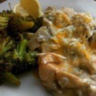 Broccoli Chicken - Chicken breasts are pan fried then smothered in a rich broccoli cream sauce with Cheddar cheese.