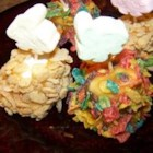 Goof Balls - These sweet caramel and cereal coated marshmallows are quick to make, sweet to eat, and a sure bet for any occasion.