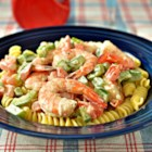 Simple Shrimp Pasta Salad - A supremely simple Shrimp Pasta salad!  It can be whipped up in no time at all and is excellent served with Garlic Cheese Bread!