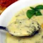 Broccoli Cheese Soup V - Broccoli cooked in chicken broth is combined with milk, processed American cheese food and onion sauteed in margarine to create a rich soup which is popular with children.