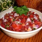 Fresh California Salsa - Diced, minced and chopped veggies and herbs--tomatoes, peppers, onion, garlic and cilantro--are stirred with a splash of lime juice.