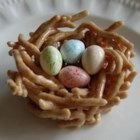 Jelly Bean Nests - Crunchy Chinese noodles and melted marshmallows make the cutest little nests for your jelly beans. Great as place markers at Easter dinner.