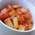 Greek Potato Stew - Kalamata olives, plump tomatoes, oregano, olive oil and garlic flavor the potatoes in this potato dish. All is turned into a saucepan with the potatoes and simmered until tender and the stew is flavorful. Six servings.
