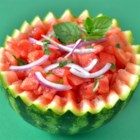 Watermelon Surprize - This summery watermelon mint salad is dressed simply with apple cider vinegar and black pepper.