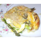 Asparagus Casserole II - A baked delight incorporating asparagus, chopped egg, bread crumbs and a simple white sauce of butter, flour and milk.