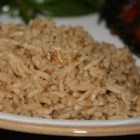 Brown Rice - This robust rice is the perfect side dish to serve with any meat, or with vegetables. Long-grain white rice is baked with beef broth, French onion soup, butter, Worcestershire sauce, and basil.