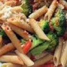 Penne with Red Pepper Sauce and Broccoli -  The red peppers in this  sauce are smashing, but they 're helped along by the addition of almonds, saut Eed onions, olive oil and cayenne pepper. Broccoli is steamed separately and then sauce, vegetables and parmesan cheese are stirred into the pasta and h