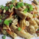 Chicken Honey Nut Stir Fry - This healthy stir fry features a sweet, spicy citrus sauce over chicken, carrots and celery and a garnish of cashews.