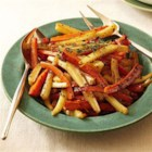 Cider-Roasted Carrots and Parsnips - These two root vegetables blend for a side dish with enough character to hold the spotlight next to grilled or roasted meat, poultry, or fish. The hint of vinegar, Dijon, honey, and thyme will make you forget it's actually good for you. Skip-a-step by lining the vegetable roasting pan with aluminum foil. To line the pan fast, turn pan upside down and press sheet of aluminum foil around it. With aluminum foil, you can use either shiny side up or dull side up. Remove the aluminum foil. Turn over, drop foil inside. Crimp edges and you're ready to cook. After the meal there is no extra cleanup. Just toss the foil.