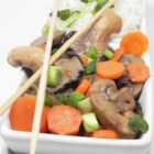 Triple Mushroom and Carrot Medley - Stir frying is the perfect way to cook mushrooms, just long enough to release their mushroom goodness. And there are three kinds in this dish  - straw, white and shiitake. Carrots too. But the sauce of soy sauce, sherry, honey and broth really brings it a