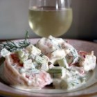 Dill and Shrimp Salad - This creamy shrimp salad with dill is great served inside fresh pita bread.