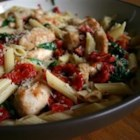 Spinach and Sun-Dried Tomato Pasta - I created this simple Sicilian-style pasta dish one day when trying to use up some sun-dried tomatoes.